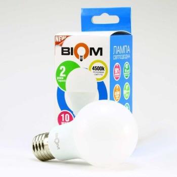 Світлодіодна лампа Biom BT-510 A60 10W E27 4500К матова