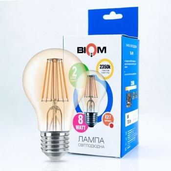 Світлодіодна лампа Biom FL-411 A60 8W E27 2350K Amber