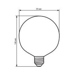 Светодиодная лампа Biom FL-420 G-95 8W E27 2350K Amber. Фото 3