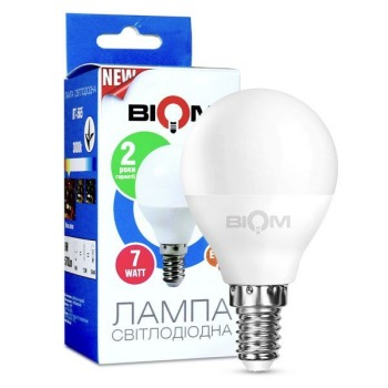 Светодиодная лампа Biom BT-565 G45 7W E14 3000К матовая