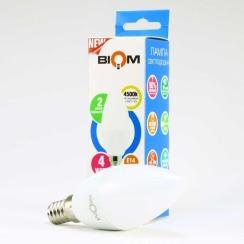 Світлодіодна лампа Biom BT-550 C37 4W E14 4500К матова. Фото 5