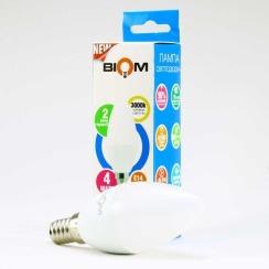 Светодиодная лампа Biom BT-549 C37 4W E14 3000К матовая. Фото 5