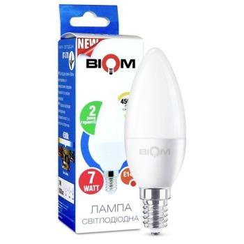 Світлодіодна лампа Biom BT-570 C37 7W E14 4500К матова