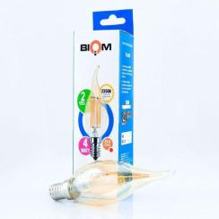 Светодиодная лампа Biom FL-415 C35 LT 4W E14 2350K свеча на ветру (Бронзовое стекло). Фото 3