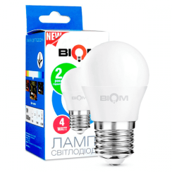 Світлодіодна лампа Biom BT-543 G45 4W E27 3000К матова