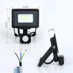 Світлодіодний прожектор Biom S5 10W SMD Slim 6200К 220V IP65 з датчиком руху. Фото 2