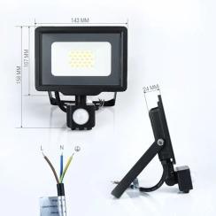 Світлодіодний прожектор Biom S5 20W SMD Slim 6200К 220V IP65 з датчиком руху. Фото 2