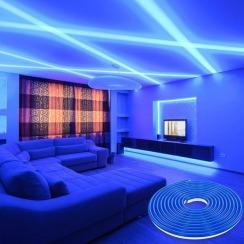 Світлодіодний неон 12В 2835-120 B IP67 синій, герметичний, 1м. Фото 5