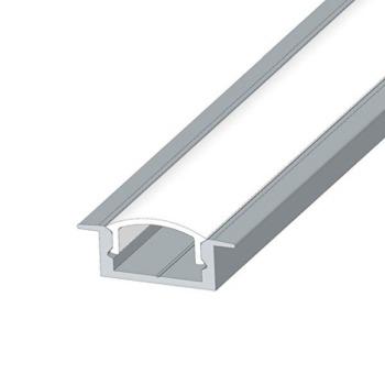 Профіль алюмінієвий LED BIOM врізний ЛПВ7 7х16, неанодований (палка 2м) + розсіювач (комплект), м