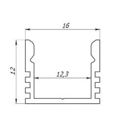 Профиль алюминиевый анодированный LED LP-12 + рассеиватель (комплект), м. Фото 2