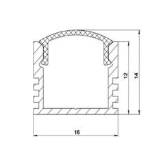 Профиль алюминиевый анодированный LED LP-12 + рассеиватель (комплект), м. Фото 3
