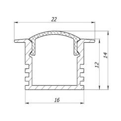 Профіль алюмінієвий анодований LED LPV-12 + розсіювач (комплект), м . Фото 4