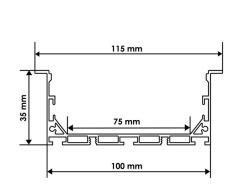 Профиль алюминиевый BIOM ЛСВ-100 35*100мм анодированный + рассеиватель (комплект), 1м. Фото 2