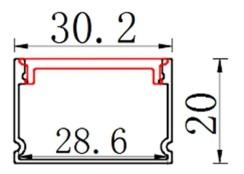 Профиль алюминиевый BIOM ЛП20 20х30, анодированный (палка 2м) + рассеиватель (комплект), м. Фото 2