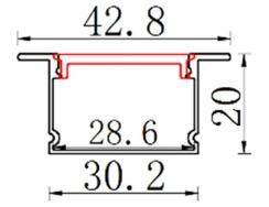 Профіль алюмінієвий врізний BIOM ЛПВ20 20х30, анодований (палиця 2м) + розсіювач (комплект), м. Фото 2