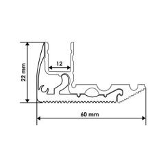 Профиль алюминиевый BIOM для ступенек LPS-22 (LPS-22/1+LPS-22/2) анодированый, (палка 2м), м. Фото 2