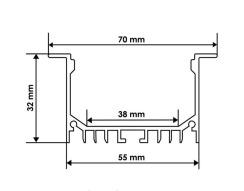 Профиль алюминиевый BIOM ЛСВ-55 32*55мм анодированный + рассеиватель (комплект), 1м. Фото 2