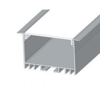 Профиль алюминиевый BIOM ЛСВ-40 40*30мм анодированный + рассеиватель (комплект), 1м