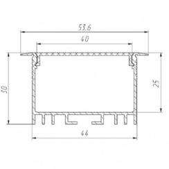 Профиль алюминиевый BIOM ЛСВ-40 40*30мм анодированный + рассеиватель (комплект), 1м. Фото 2