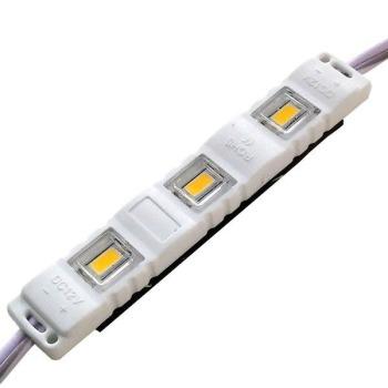 Светодиодный модуль Biom 5630-3 led WW 1W 3000K, 12В, IP65 тёплый белый с линзой