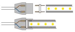 Світлодіодна стрічка 2835 120 Led/m WW 220В IP68 тепла біла, герметична, 1м. Фото 2