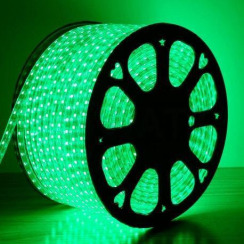 Светодиодная лента 2835 120 Led/m G 220В IP68 зеленая, герметичная, 1м