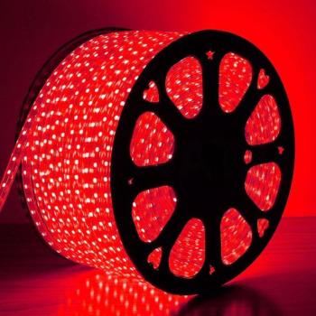 Светодиодная лента 2835 120 Led/m R 220В IP68 красная, герметичная, 1м