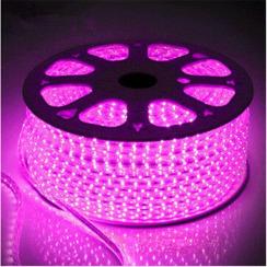 Світлодіодна стрічка 2835 120 Led/m P 220В IP68 рожева, герметична, 1м