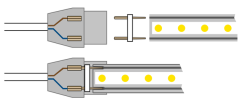 Світлодіодна стрічка 2835 120 Led/m Y 220В IP68 жовта, герметична, 1м. Фото 2