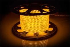 Светодиодная лента 220В 120 Led/m 2835 Y IP68 Standart, желтая