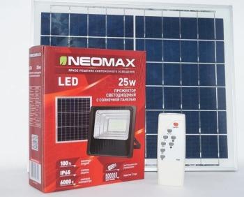 Світлодіодний прожектор Neomax 25W з сонячною панеллю SMD Slim 6000К 220V IP65