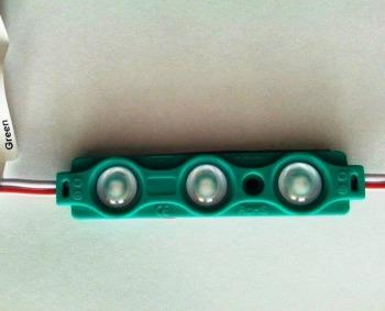 Светодиодный модуль AVT SMD 5730 3 led 1,5W 12В, IP65 зеленый с линзой
