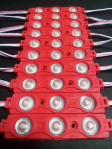 Светодиодный модуль AVT SMD 5730 3 led 1,5W 12В, IP65 красный с линзой. Фото 3