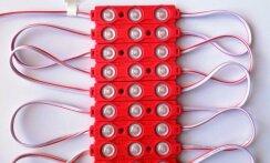Светодиодный модуль AVT SMD 5730 3 led 1,5W 12В, IP65 красный с линзой. Фото 2