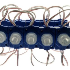 Светодиодный модуль AVT 3030 1 led 1,5W 12В, IP65 синий с линзой. Фото 3