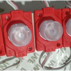 Светодиодный модуль AVT 3030 1 led 1,5W 12В, IP65 красный с линзой. Фото 2