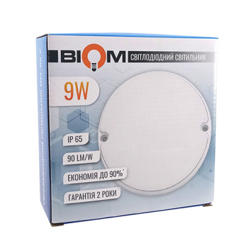 Светильник светодиодный ЖКХ Biom MPL-R9-6 9W 6000K IP65 круглый