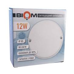 Светильник светодиодный ЖКХ Biom MPL-R12-6 12W 6000K IP65 круглый. Фото 2